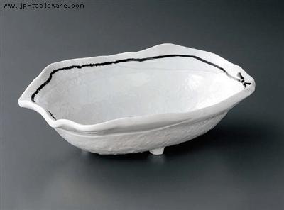 黒結び石目変形大盛鉢