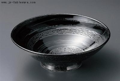 漆黒銀彩渦8寸高台鉢