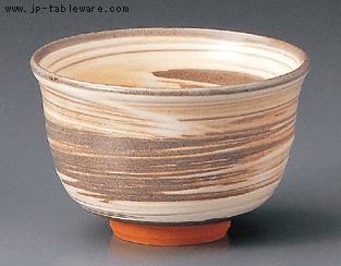 京焼刷毛目割高台抹茶碗(化)