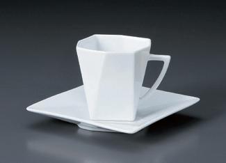 白磁折り紙コーヒーC/S(YUW)(碗と受け皿セット)