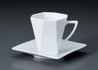 白磁折り紙アメリカンC/S(YUW)(碗と受け皿セット)