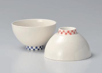 市松茶碗(赤)