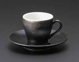 オリエント(黒)エスプレッソ碗皿(碗と受け皿セット)
