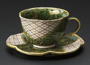 織部麦紋花型コーヒー碗皿