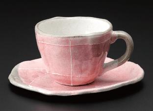 ピンク色十草タタラコーヒー碗(碗のみ-受け皿なし)