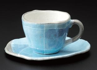ブルー色十草タタラコーヒー碗(碗のみ-受け皿なし)