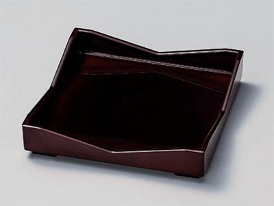 [A]6寸角太閤皿溜底黒塗