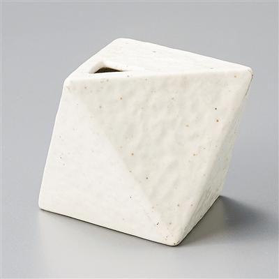 粉引マット幾何学型花瓶