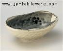 黒刷毛楕円小鉢(大)