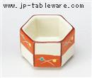 赤絵市松六角豆鉢