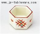 赤絵格子六角豆鉢