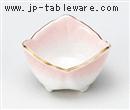 ピンク吹渕金三つ葉形珍味(小)