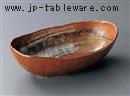 鉄釉太刷毛楕円鉢