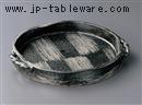 藍釉市松手造手付平鉢