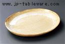 黄灰釉楕円大皿