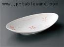ラスターピンク花楕円鉢