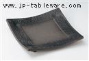 炭化土石垣彫正角8寸皿