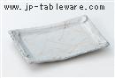 炭化土金彩粉引掛塗り長角9.5寸皿