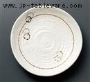 白釉彫入り三ツ足盛皿