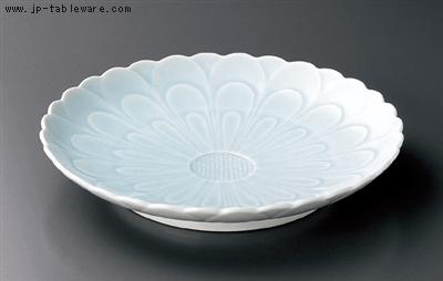 青白磁菊彫12号皿
