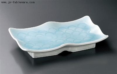 エビ青海波彫盛皿