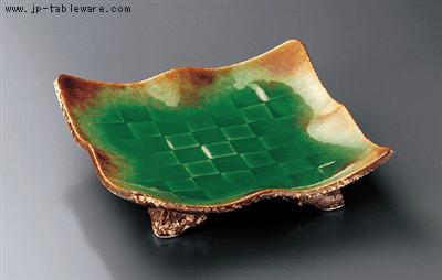 緑釉イラボ角波渕盛皿(大)