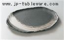 黒釉刷毛目13.0小判皿