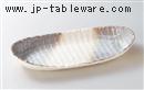 かすみ志野12.0舟形皿
