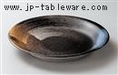 二色刷毛目28cm深丸皿