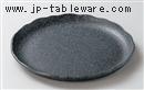 黒銀つむぎ26cm丸皿