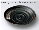 黒釉白刷毛9寸皿