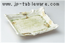 ビードロガタ彫四角皿