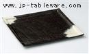 黒陶粉引8寸スクエアプレート