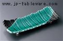 グリーン釉長角皿