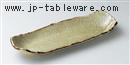渕錆灰釉石目37cm盛込皿