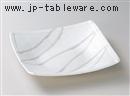白結晶チタン流し渕折四角大鉢