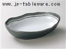 南蛮粉引舟型鉢