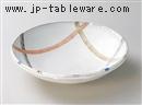 釉彩白輪つなぎ8寸鉢