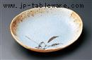 茶笹青釉楕円中皿