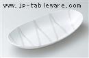 白結晶チタン流し砂目楕円大鉢