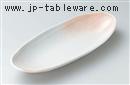 ピンク石目船形32cm変形皿