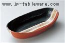 黒朱サビハケ楕円盛鉢