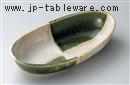 オリベ市松楕円盛鉢