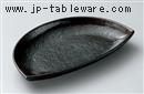 黒渋半月皿