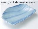 青地流水彫焼物皿