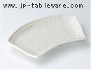粉引釉扇形焼皿