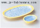 黄釉ブルー吹焼物皿