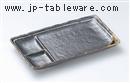 鉄釉一珍ライン串皿