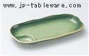 緑彩仕切付焼物皿