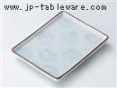 青磁菊彫長角銘々皿